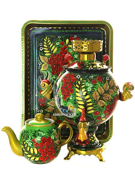 Набор самовар электрический 3 литра с художественной росписью Птица, рябина на зеленом фоне, форма Петух, арт. 199879Самовары электрические<br>Комплект из трех предметов:латунный самовар, металлический поднос и заварочный чайник.<br>