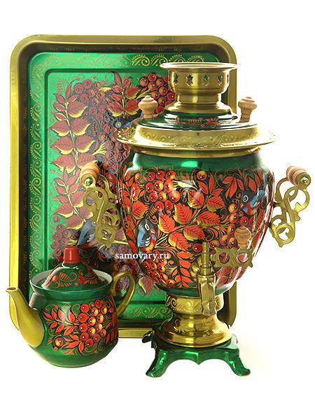 Набор самовар электрический 3 литра с художественной росписью Птица синица, рябина на зеленом фоне, арт. 199877Самовары электрические<br>Комплект из трех предметов:латунный самовар, металлический поднос и заварочный чайник.<br>