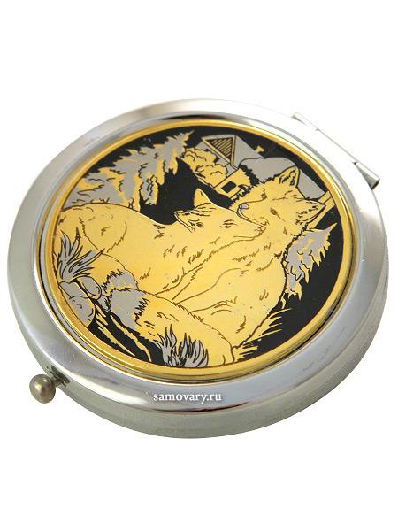 Позолоченное зеркало с гравюрой Две лисы ЗлатоустЗеркало подарочно-сувенирное позолоченное с гравюрой.<br>Упаковано в стильную дизайнерскую коробку.<br>Ручная работа.<br>