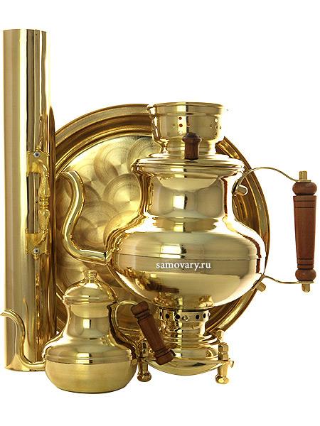 Угольный самовар-чайник 2 литра латунный в комплекте с трубой, чайником и подносом, арт. 220551Подарочный комплект: угольный самовар на 2 литра, поднос, заварочный чайник и труба.<br>Набор изготовлен из латуни.<br>