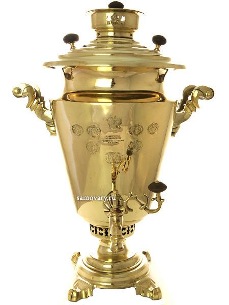Угольный самовар 7 литров желтый конус, произведен Фабрикой Торгового Дома Б.Г.Тейле с сыновьями в Туле, арт. 456310Латунный самовар.  &#13;<br>Отреставрирован тульскими мастерами и готов к эксплуатации.<br>