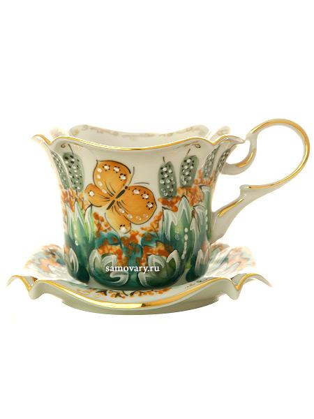 Детская чайная пара Гжель цветная с лягушкойКерамическая чайная пара с ручной росписью.<br>Объем - 160 мл.<br>