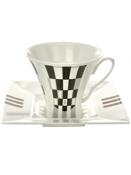 Чашка с блюдцем чайная форма Петрополь рисунок Черное и белое, Императорский фарфоровый заводФарфоровая чайная пара.<br>Объем - 220 мл.<br>