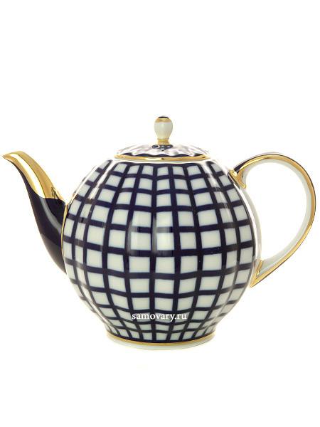 Чайник доливной форма Тюльпан рисунок Кобальтовая клетка, Императорский фарфоровый заводФарфоровый чайник доливной.&#13;<br>Объем - 2 л.<br>