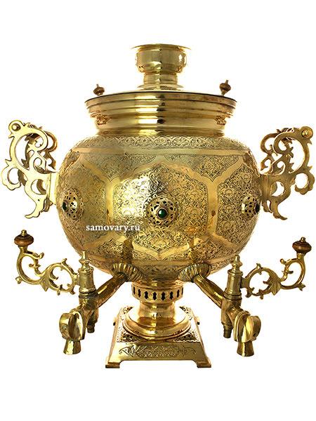Угольный самовар 62 литра латунный шар с резными ручками с двумя краниками, арт. 310212Самовар угольный, эксклюзивный, с двумя краниками для воды.&#13;<br>Труба для отвода дыма в комплекте.<br>