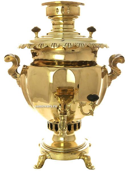 Угольный самовар 6 литров желтый ваза с гранями, произведен фабрикой Б.Г.Тейле с сыновьями, арт. 480551Латунный самовар.  <br>Отреставрирован тульскими мастерами и готов к эксплуатации.<br>
