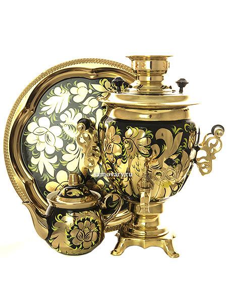 Набор самовар электрический 3 литра с художественной росписью Золотые цветы на черном фоне, арт. 130487Самовары электрические<br>Комплект из трех предметов:латунный самовар, металлический поднос и заварочный чайник.<br>