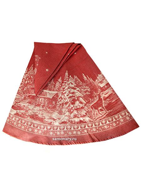Скатерть круглая Зима красная d-178 смДиаметр - 178 см. <br>Хлопок, лен.<br>