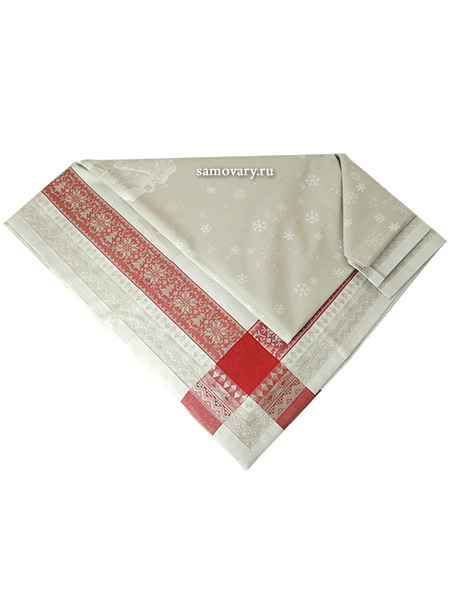 Скатерть Зима красная без кружева, 150х250Размер скатерти 150*250 см. <br>Хлопок, лен.<br>