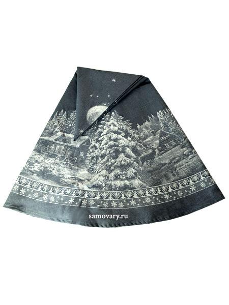 Скатерть круглая Зима синяя, d-178 смДиаметр - 178 см. &#13;<br>Хлопок, лен.<br>