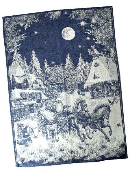 Полотенце Зимняя тройка синее без кружева, 50х70Размер полотенца - 50*70 см. <br>Хлопок, лен.<br>