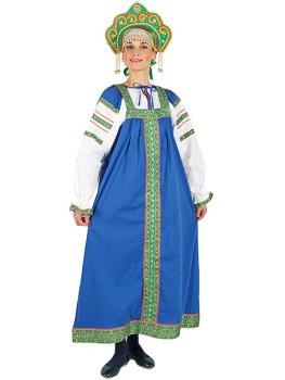 Русский народный костюм льняной комплект синий