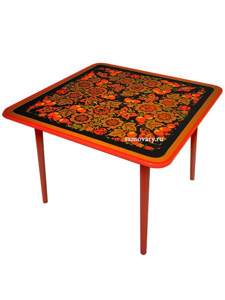 Детский стол квадратный с художественной росписью Осень черный, арт. 72090000000Деревянный детский стол с красочной росписью.<br>Размер: 580х650х650 мм.<br>3-я ростовая категория.<br>