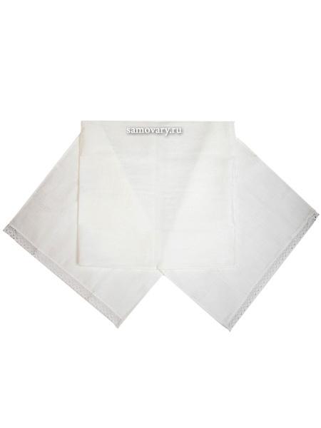 Дорожка жаккардовая белая, рушник для каравая Артель с кружевомРазмер дорожки - 50*150 см. <br>Материал - жаккард.<br>
