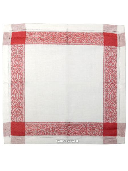 Салфетка красно-белая с мережкой, 45х45Размер салфетки - 45*45 см.<br>Хлопколен.<br>