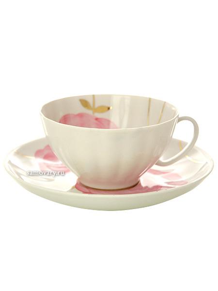 Фарфоровая чашка с блюдцем форма Белый лебедь рисунок Весенний, Дулевский фарфорЧашка с блюдцем на 1 персону.<br>Объем - 275 мл.<br>