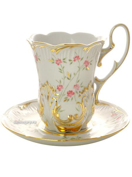 Фарфоровый бокал с блюдцем форма Рельефный рисунок Розочки ДулевоБокал с блюдцем на 1 персону.&#13;<br>Объем - 500 мл.<br>