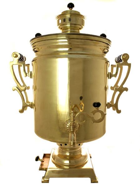 Комбинированный самовар 40 литров желтый цилиндр произведен в 50-х годах XX века, арт. 310213Латунный самовар на большую компанию, середина XX века.<br>Отреставрирован тульскими мастерами и готов к эксплуатации....<br>