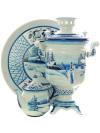 Набор самовар электрический 3 литра с художественной росписью Зимний пейзаж, арт. 155651Самовары электрические<br>Комплект из трех предметов:латунный самовар, металлический поднос и заварочный чайник.<br>
