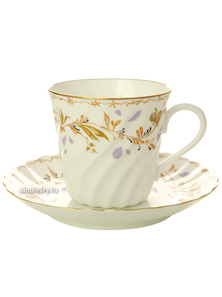 Кофейная чашка с блюдцем форма Витая, рисунок Карелия, Императорский фарфоровый заводФарфоровая кофейная пара.&#13;<br>Объем чашки - 155 мл.<br>