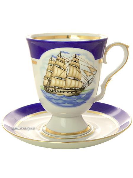 Фарфоровый бокал с блюдцем форма Классический рисунок Морской Дулевский фарфорБокал с блюдцем на 1 персону.&#13;<br>Объем - 600 мл.<br>