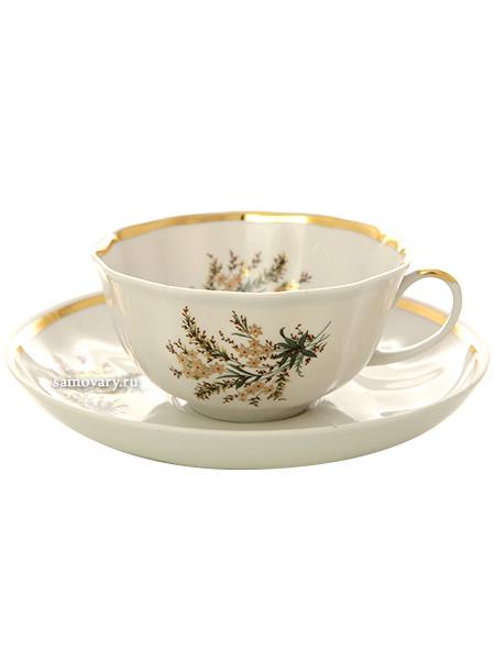 Фарфоровая чашка с блюдцем форма Тюльпан рисунок Нина, Дулевский фарфорЧашка с блюдцем на 1 персону.<br>Объем - 220 мл.<br>