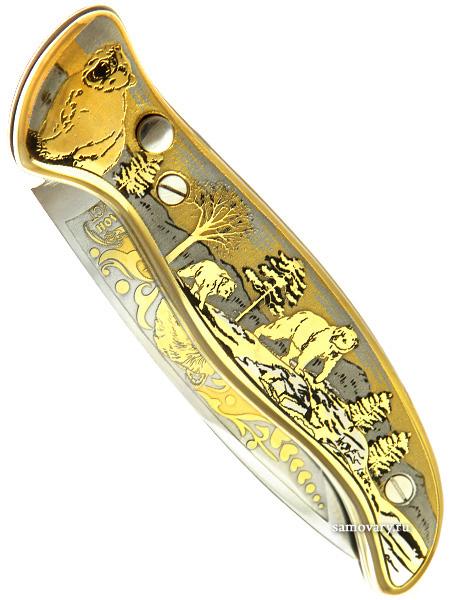 Складной сувенирный нож Златоуст с кнопкой позолоченный, арт.3