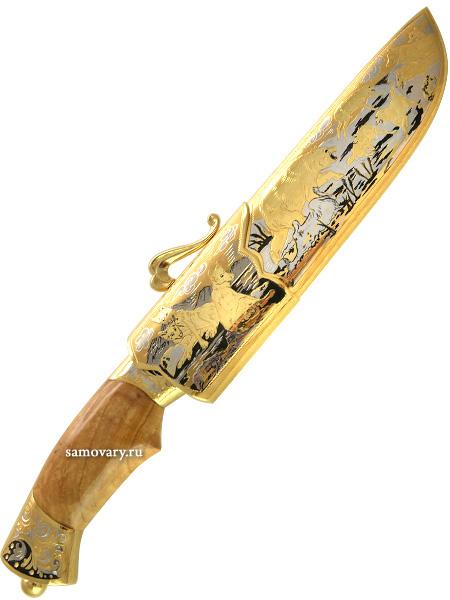 Сувенирный нож Вавилон (Волчья стая), ЗлатоустНож сувенирный позолоченный.<br>Упакован в стильную дизайнерскую коробку.<br>Ручная работа.<br>
