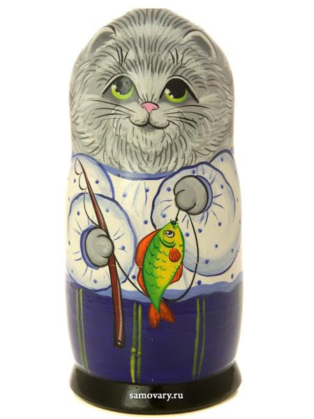 Набор матрешек Котик серый, серия Животные, арт. 604Набор из 5 штук.&#13;<br>Высота - 16,5 см.<br>