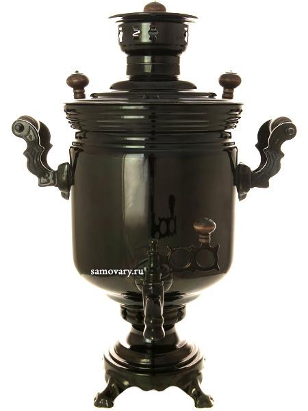 Угольный самовар 5 литров цилиндр черный никель, арт. 220512Уникальная модель!Черный никель на латуни.&#13;<br>Труба для отвода дыма в комплекте.<br>
