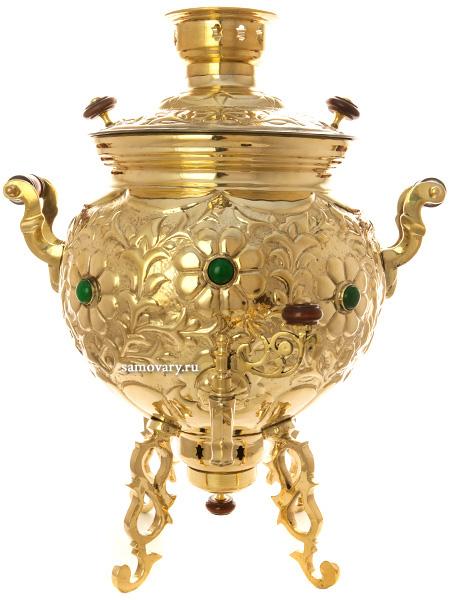Угольный латунный самовар 9 литров шар, украшенный камнями, арт. 471716Латунный самовар<br>