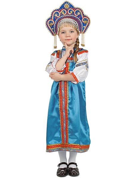 Русский народный костюм, детский голубой атласный комплект Василиса: сарафан и блузка, 7-12 летДетский костюм для девочки, возраст 7,8,9,10,11,12 лет.<br>Ткань - атлас. Цвет - голубой.<br>