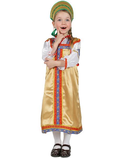 Русский народный костюм, детский золотистый атласный комплект Василиса: сарафан и блузка, 7-12 летДетский костюм для девочки, возраст 7,8,9,10,11,12 лет.<br>Ткань - атлас. Цвет - золотистый.<br>