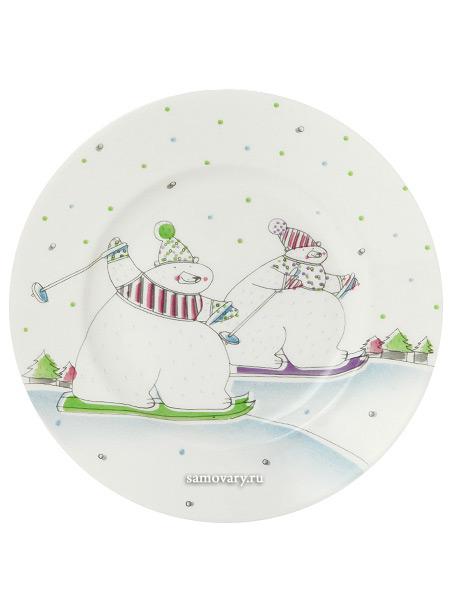 Тарелка декоративная форма Гладкая, рисунок На лыжне, Императорский фарфоровый заводПодарочная фарфоровая тарелка-панно.&#13;<br>Диаметр - 155 мм.<br>