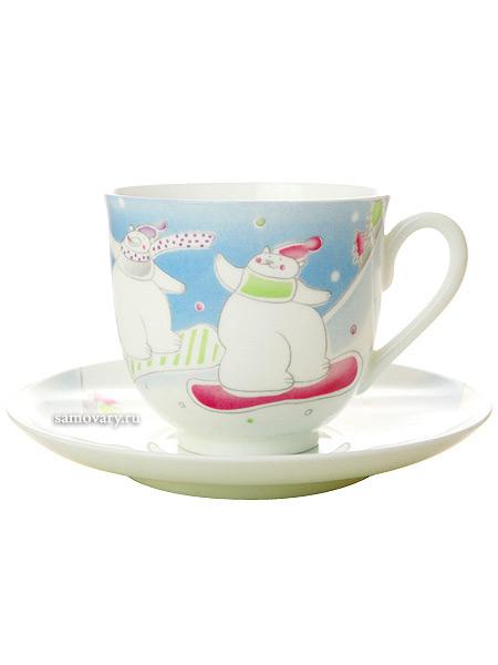 paper-shopФарфоровая кофейная пара из серии Зимние каникулы.<br>Объем чашки - 180 мл.<br>