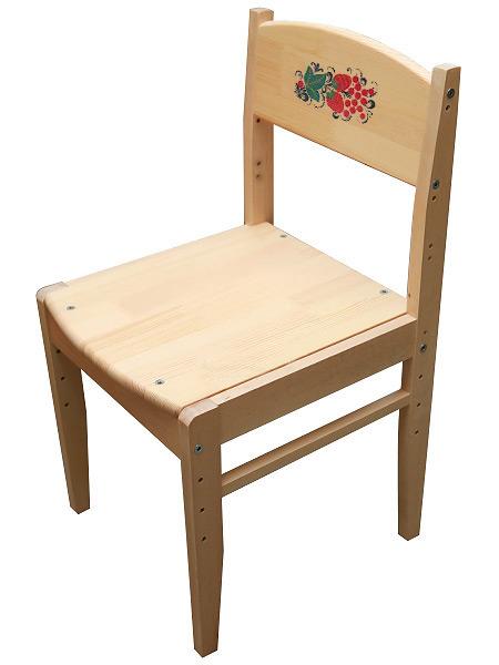 Детская мебель Хохлома - стул детский Кроха растущий с рисунком на спинке, арт. 79210000000Деревянный детский стул из массива березы.&#13;<br>Размер: 615х330х340 мм.&#13;<br>1-3 ростовая категория.<br>