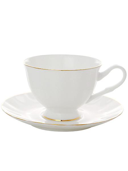 Сервиз чайный форма Нега, рисунок Золотая лента 6/20, Императорский фарфоровый заводСервиз чайный из 20 предметов: 6 чайных пар, чайник заварочный, сахарница, 6 десертных тарелок<br>
