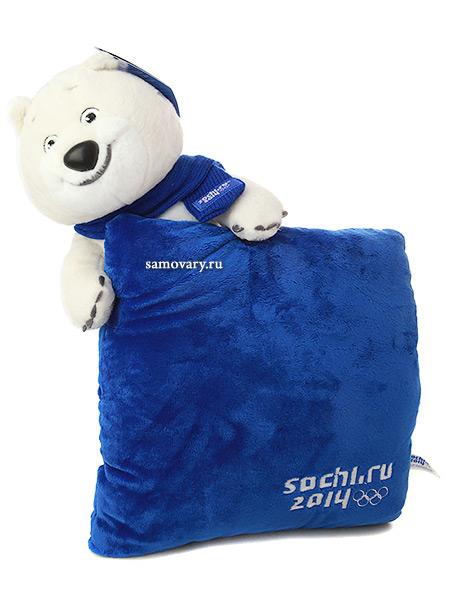 Мягкий сувенир Сочи 2014 Белый мишка с шарфом и подушкой 32 смОлимпийский талисман.&#13;<br>Высота - 32 см.&#13;<br>Размер подушки - 27х27см.<br>