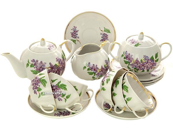 Дулевский чайный сервиз форма Тюльпан рисунок Сирень 6/15Сервиз из фарфора.<br>6 персон.<br>