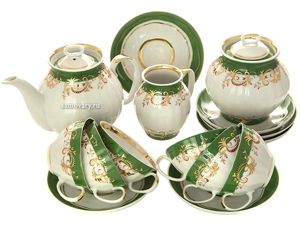 Чайный сервиз форма Белый Лебедь рисунок Кружево 6/15, Дулевский фарфорСервиз из фарфора.&#13;<br>6 персон.<br>