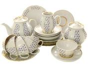 Чайный сервиз форма Белый Лебедь рисунок Ситец 6/21, Дулевский фарфорСервиз из фарфора.&#13;<br>6 персон.<br>