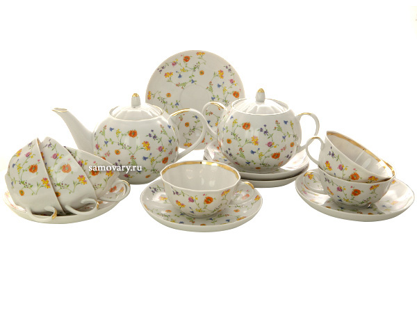 Чайный сервиз Тюльпан рисунок Полевые цветы 6/14 Дулевский фарфорСервиз из фарфора.<br>6 персон.<br>