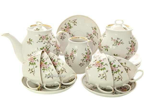 Дулевский чайный сервиз форма Белый Лебедь рисунок Цветение 6/15Сервиз из фарфора.<br>6 персон.<br>