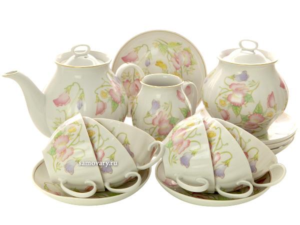 Дулевский чайный сервиз форма Белый Лебедь рисунок Душистый горошек 6/15Сервиз из фарфора.&#13;<br>6 персон.<br>