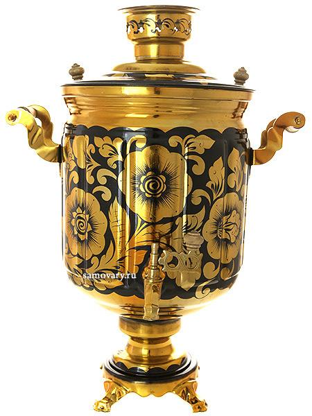 Самовар электрический 10 литров с художественной росписью Золотые цветы на черном фоне, арт. 140218Самовары электрические<br>Латунный самовар с термостойкой росписью<br>