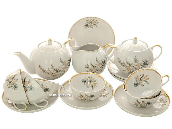 Дулевский чайный сервиз форма Тюльпан рисунок Нина 6/15Сервиз из фарфора.&#13;<br>6 персон.<br>