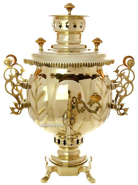 Комбинированный самовар 4,5 литра латунный шар,Премиум, Штамп, арт. 310514Латунный самовар.&#13;<br>Труба для отвода дыма в комплекте.<br>
