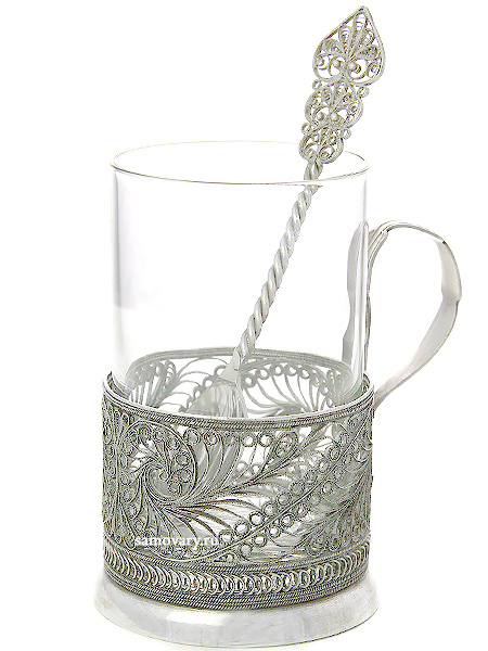 Набор для чая Мимоза на 1 персону - Казаковская филиграньАжурный набор из посеребренного подстаканника, чайной ложки и термостойкого стакана.&#13;<br>Упакован в стильную дизайнерскую коробку.<br>