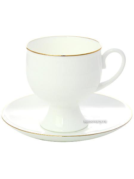 Сервиз кофейный форма Классическая-2, рисунок Золотая лента 6/20, Императорский фарфоровый заводСервиз кофейный из 20 предметов: 6 кофейных пар, кофейник, сахарница, 6 десертных тарелок.<br>