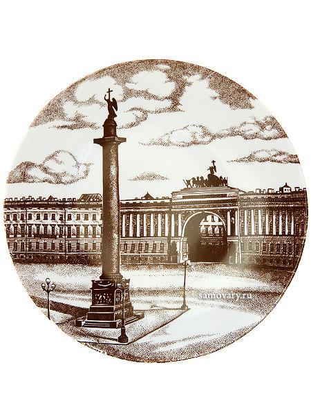 Тарелка декоративная форма Эллипс, рисунок Дворцовая площадь, Императорский фарфоровый заводПодарочная фарфоровая тарелка-панно с авторской росписью.&#13;<br>Диаметр - 195 мм.<br>